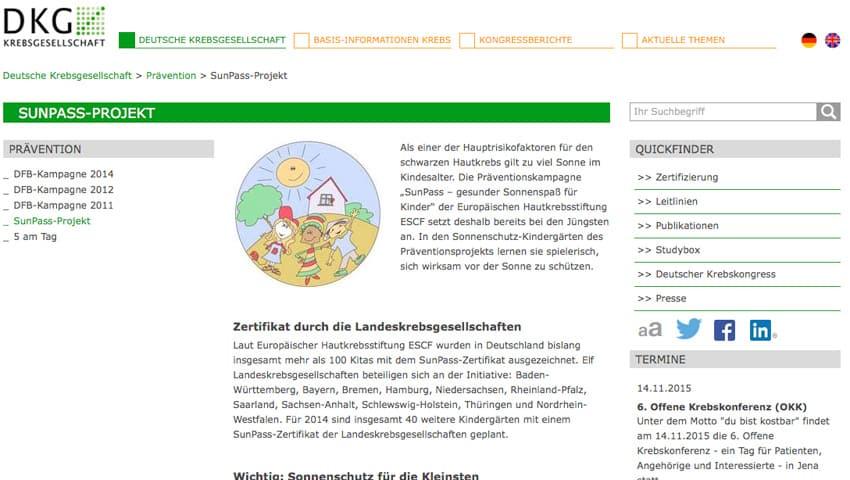"""Projekt """"SunPass ¬– Gesunder Sonnenspaß für Kinder"""""""
