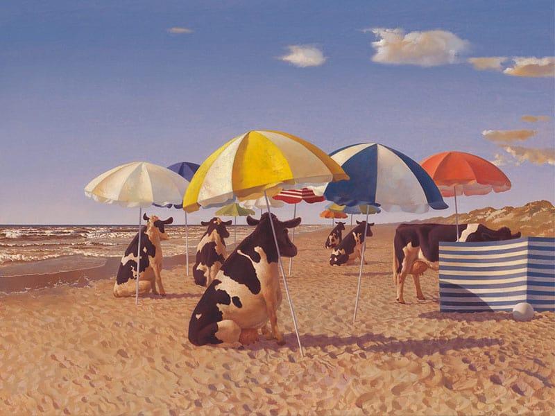 sunliner Kühe unterm Sonnenschirm