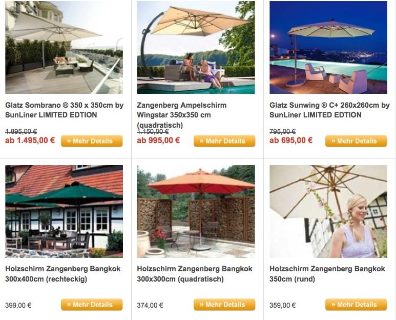 Alle Sonnenschirme mit Dralon Bespannung